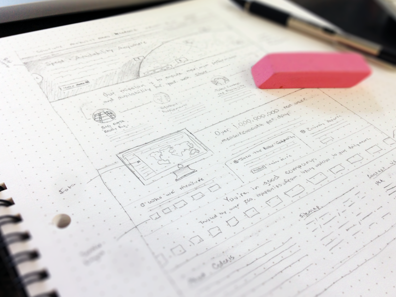 Home homepage wireframe sketch drawing grid pencil