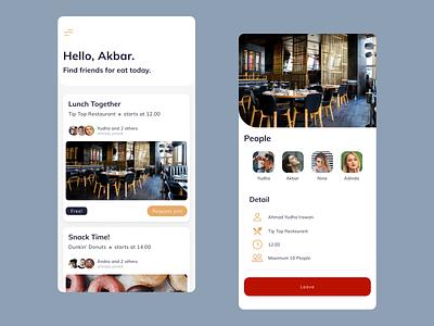 Finding Friend for eat - App Concept meals lunch food finder friends eat ux mobile ui mobile app design mobile app design app design app