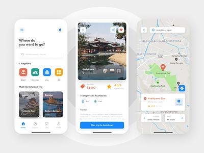 Vacation App Concept iphone light mode map design app mobile ios ux ui minimalist clean tour explore trip vacation