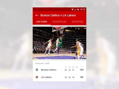 Basketball concept android app material design ui ux