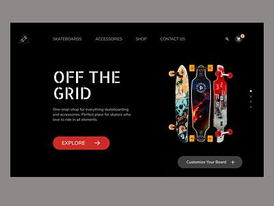 Skateboards Web Design Concept home page landing page design uxdesign branding adobexd web concept skateboards webdesign uidesigner interface uiux ecommerce ui minimal design dailyui uidesign