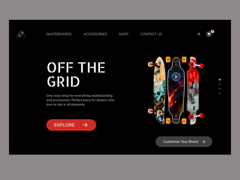 Skateboards Web Design Concept home page landing page design uxdesign branding adobexd web concept skateboards webdesign uidesigner interface uiux ecommerce ui minimal design dailyui uidesign