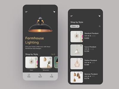 Lamp Store App product mobile ui shop mobile app ecommence product design minimal ux uidesigns uiux uidesigner pendant light lamp application app design ecommerce ui design uidesign