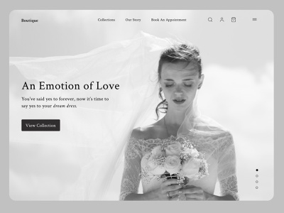 The Boutique: Website Design for Wedding dresses 👗 ui  ux wedding homepage website user experience fashion landing page figmadesign wedding dress bridal branding ecommerce interface uiux minimal uidesign