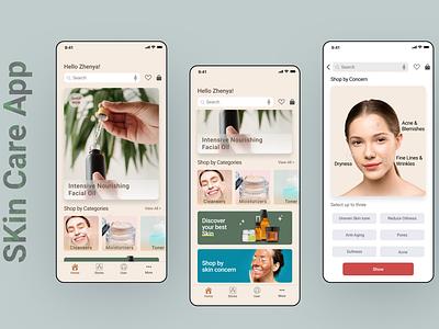 Skin Care App Design ux mobile app figmadesign beauty skin care branding ecommerce ui uiux interface uidesign
