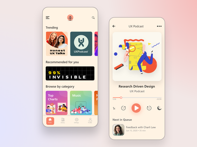 Podcast mobile app app design audio app podcasting mobile ui ui createwithadobexd design app concept dailyui music app podcast branding uidesigner interface adobexd uiux minimal uidesign