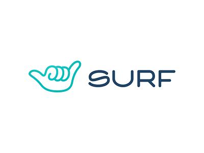 Surf simple monoline locals only wave surfing hand hang loose shaka surf logotype branding logo