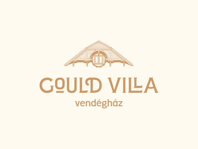 Gould Villa house etching engraving villa hotel guesthouse guest house logotype branding logo