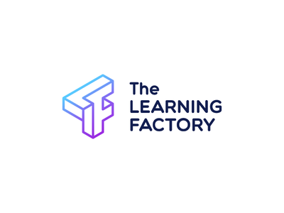 The Learning Factory makerspace lettermark impossible object impossible impossible shape monogram optical illusion isometric isometry monoline logotype branding logo
