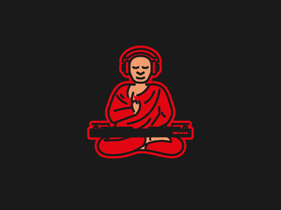 (  ˘‿˘ ) monoline illustrator vector guru turntable logo meditating meditation illustration monk dj