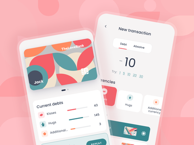 TheLoveBank - Manage your love budget design minimal clean ux ui manage finance mobile financial app ui tabs bank income transaction credit card budget love
