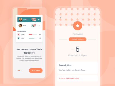 Transaction page from TheLoveBank slider button icons graphic delete description titanic app mobile onboarding income manage love financial finance credit clean budget bank