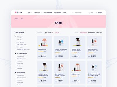 Catalog page for a CBD e-store e-commerce header sort filter cbd product ui design catalog page clean