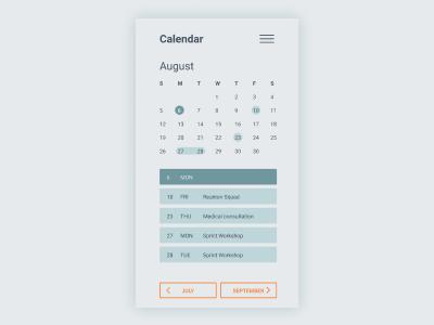Daily UI | Challenge #38 | Calendar