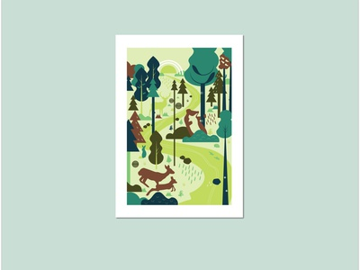 """""""In the wood"""" poster poster colors web illustration vector animals illustrated"""