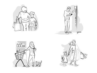 graphics set - shopping illustration blackandwhite design web illustration webdesign ecommerce