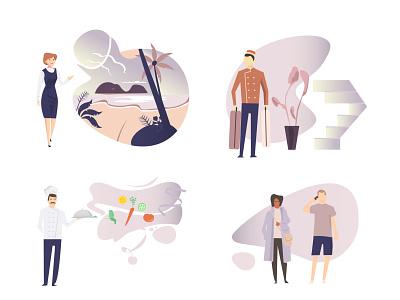 Hotel People Graphic Set travel agency illustration web illustration pension vector design
