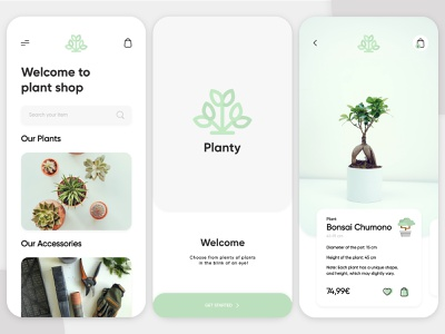 Planty App - Summary plant app light mode interaction design interface design user experience user interface ux ui ios clean minimal ecommerce uxdesign uidesign iphone screen mobile application app design app