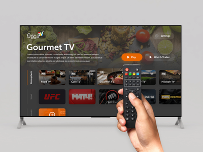 Interface of TV boxes Eggs TV app ux ui tv tv app design