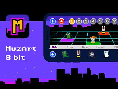 MuzArt 8 bit music app 8-bit 8 bit 8bit game design game ux app ui design