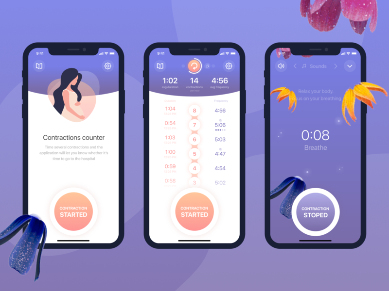 Contractions Timer pregnancy contraction baby minimal ux app ui design