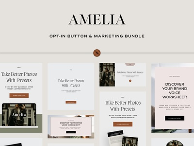 Amelia - Opt-In Button & Marketing Bundle instagram graphics web design opt-in buttons marketing bundle templates email marketing social graphics email opt-in