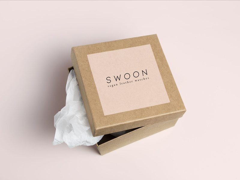 Swoon Vegan Leather Watches Box Packaging Design typography packaging design packaging wordmark logo photoshop wordmark brand design logo branding concept
