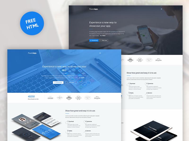 Foundapp - FREE App Landing Page off-canvas blue html landing page app free