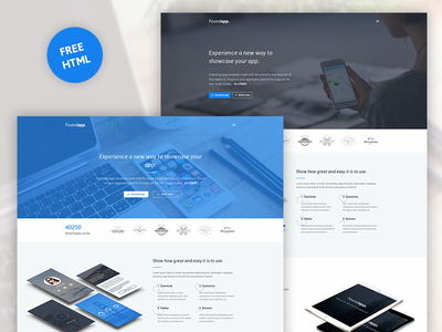 Foundapp - FREE App Landing Page off-canvas blue html landing page app free