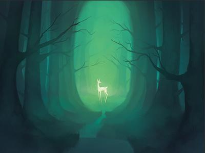 Deer trail creature woods forest wildlife animals deer nature illustration