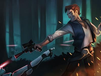 Han digital painting painting digital star wars han solo character design character illustration