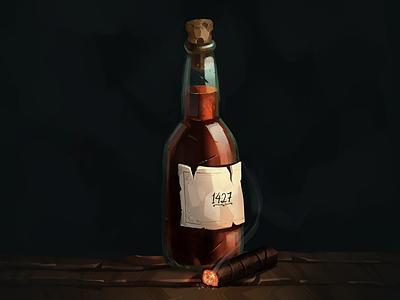 Bourbon texture cigar painting digital painting bottle liquor whiskey bourbon prop illustration