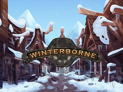 Winterborne logo buildings landscape viking boardgame board games board game background art illustration