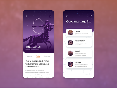 Astrology App • Creative Concept star sign zodiac dark mode light mode horoscope astrology ios mobile app design design ux ui concept app
