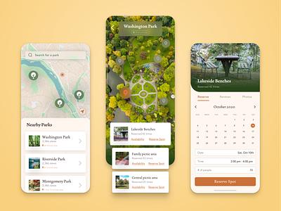 Park App • Creative Concept social distancing reserve park light mode ux ui design app concept ios mobile app design