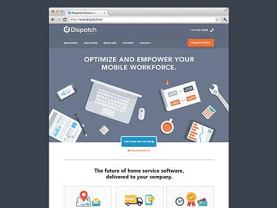 Dispatch Enterprise flat clean ui ux layout minimal web website navigation header illustration