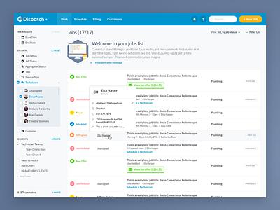 Job Management Dashboard Concept filter hover desktop user interface dashboard web design ui design app web app ux ui