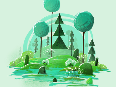 Illustration good vibes trees game forest tropical procreate graphic flat brush background vector 2d green landscape tree illustration