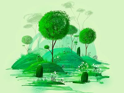 Nature spirit flower outside nature brush tropical procreate illustration green graphic game background forest flat vector tree 2d illustration 2d trees landscape