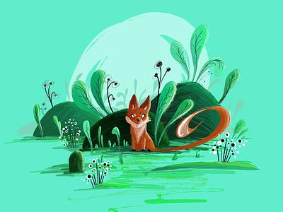 Mr Fox 2d vector brush landscape green nature child illustration animal fox