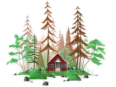 Little lanscape vector brush graphic forest flower flat background procreate digital 2d painting nature house landscape green illustration trees