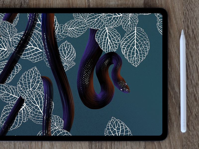 Jungle snake draw snake landscape jungle drawing pencil digital 2d art procreate ipad illustration
