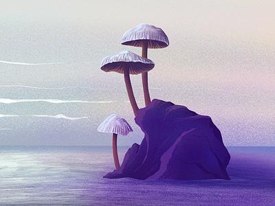 Mushroom illustration summer landscape fantastic noise graphic sea illustration sun