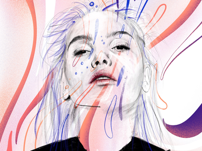 Portrait digital sketch waves sketch procreate paint realistic woman girl pattern organic illustration painting digital portrait
