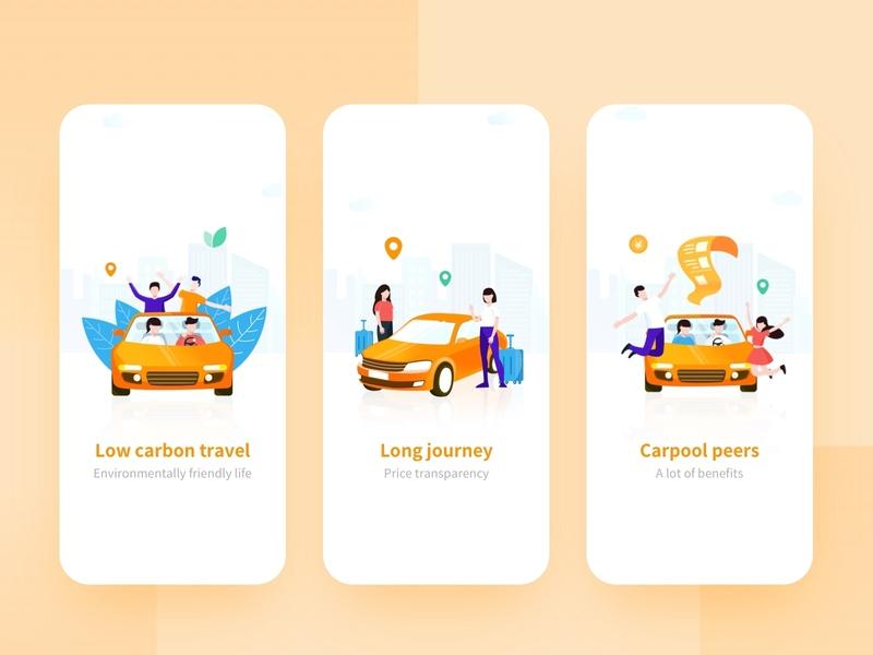 Online car-hailing - Onboarding onboarding taxi car design illustration ux branding ui