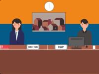 Flat design receptionist