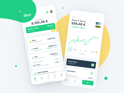 Introducing Oval 7.0 icons chart flat design oval payment investing saving minimal finacial app interface design clean app green ux ui flat