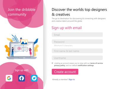 Dribbble Sign Up Form