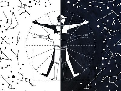Vitruvius Men man vitruvius whithe black outline illustration