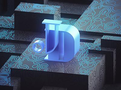 3D self ident render vray ident logo blue 4d cinema c4d 3d